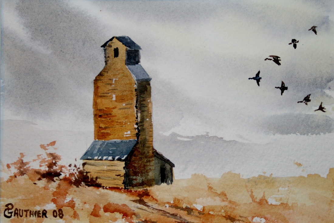 Watercolor painting of Granary and geese