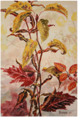 Watercolor painting of fall leaves