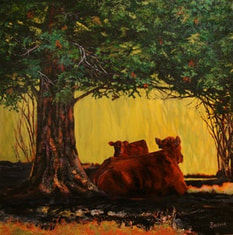 Acrylic painting of Cow and calf