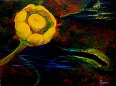 Acrylic painting of a Northern Yellow water lily