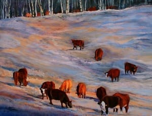 Acrylic painting of Cattle